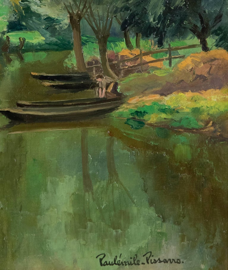 La Riviére Ombragée, La Garette by Paulémile Pissarro - Post-Impressionist  - Black Landscape Painting by Paul Emile Pissarro