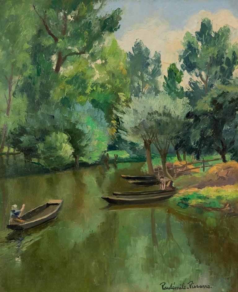 Paul Emile Pissarro Landscape Painting - La Riviére Ombragée, La Garette by Paulémile Pissarro - Post-Impressionist