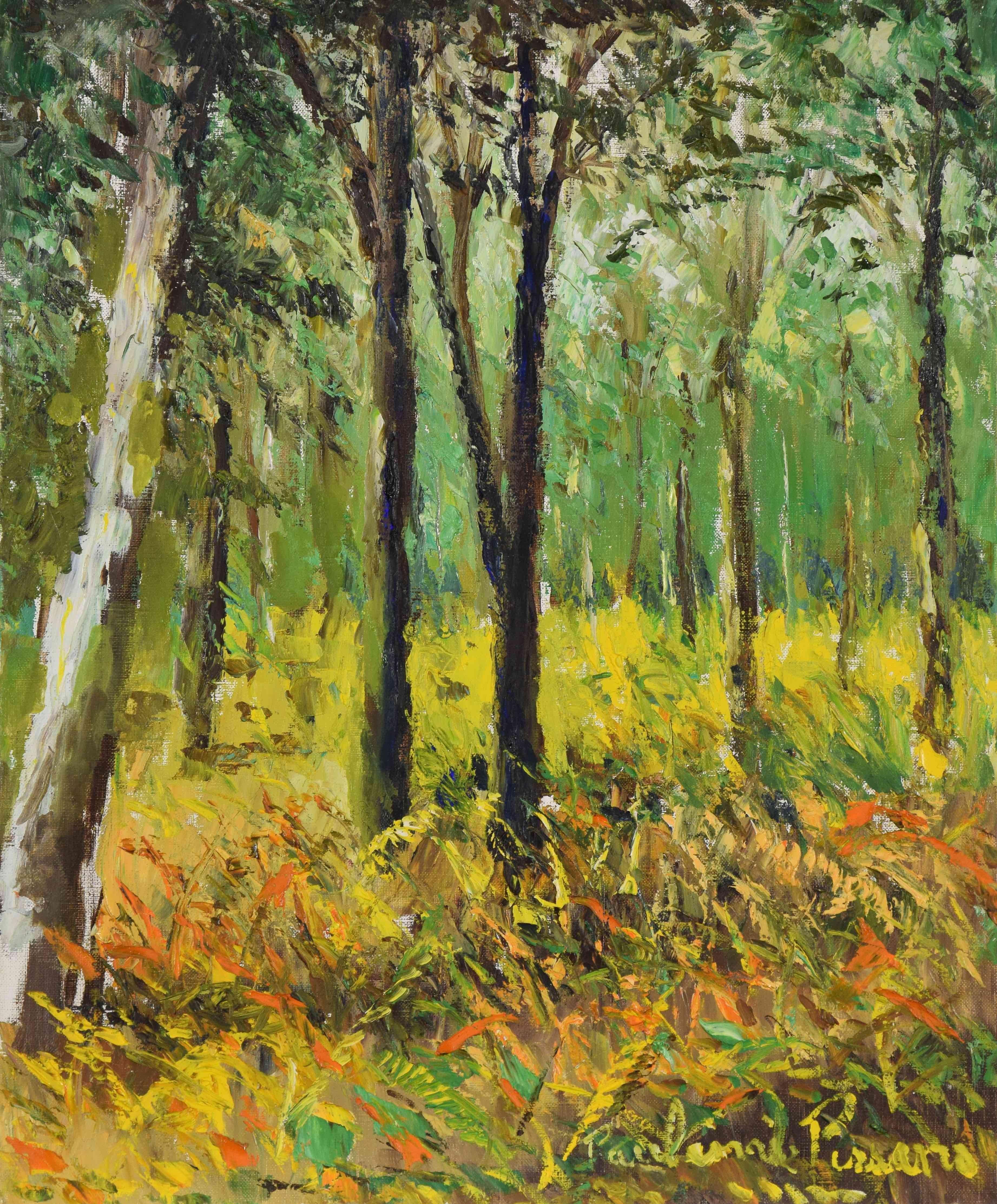 Landscape oil painting titled Lyons-la-Forêt by Paulémile Pissarro