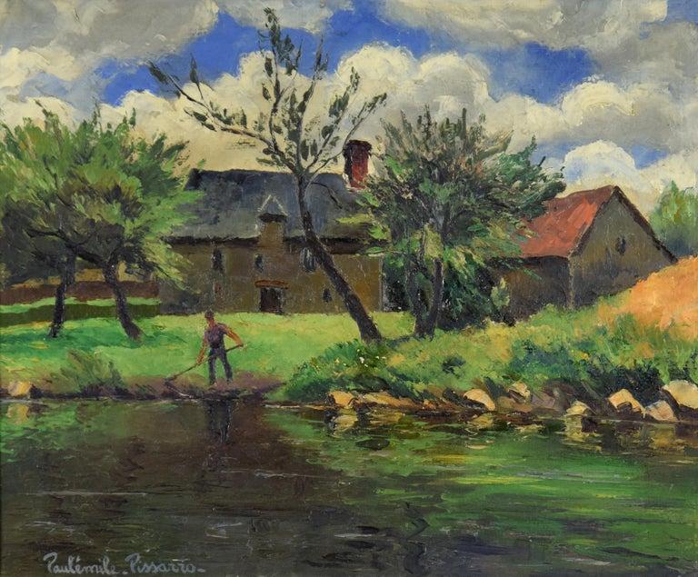 Paul Emile Pissarro Landscape Painting - Landscape painting by Paulémile Pissarro titled 'Le Faucheur' (The Harvestman)