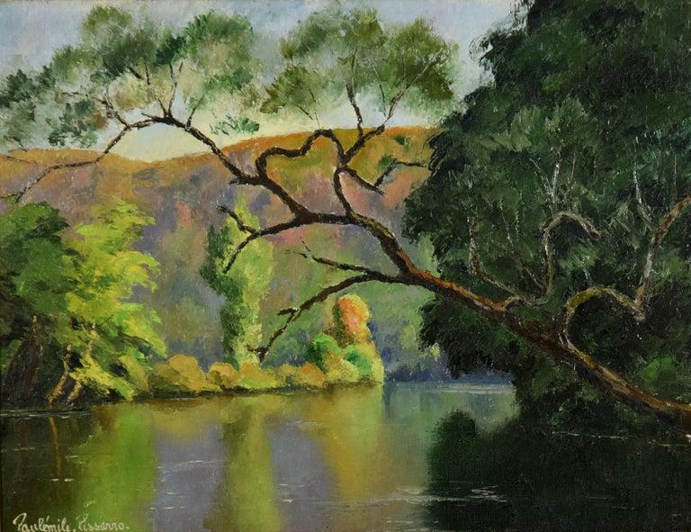 L'Arbre Penché by PAULÉMILE PISSARRO - Post-Impressionist landscape/waterscape - Painting by Paul Emile Pissarro