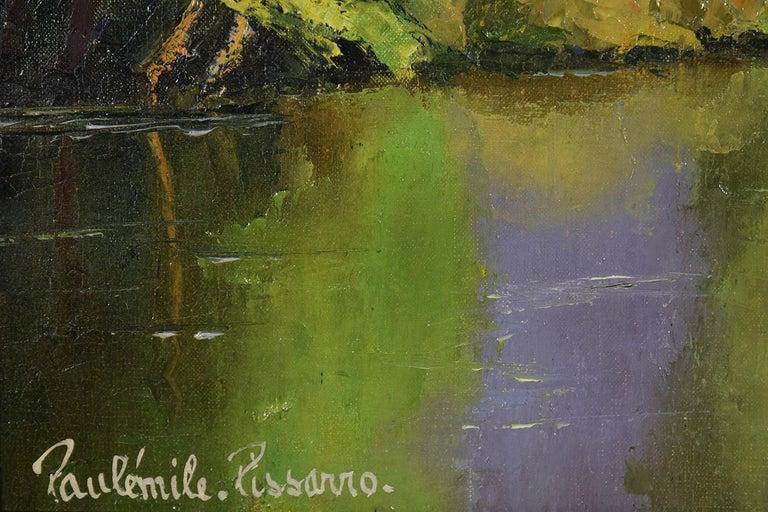 L'Arbre Penché by PAULÉMILE PISSARRO - Post-Impressionist landscape/waterscape - Brown Landscape Painting by Paul Emile Pissarro