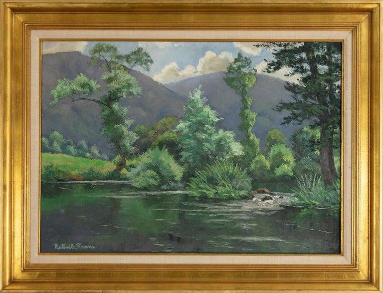 Le Coup de Vent by Paulémile Pissarro - Post-Impressionist oil river scene - Painting by Paul Emile Pissarro