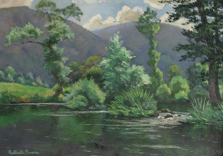 Paul Emile Pissarro Landscape Painting - Le Coup de Vent by Paulémile Pissarro - Post-Impressionist oil river scene