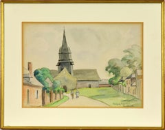 L'Église de Morgny-Eure by PAULÉMILE PISSARRO - Watercolour landscape painting