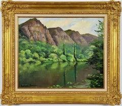 Montagnes au Bord d'une Rivière by PAULÉMILE PISSARRO - Oil, Post-Impressionist