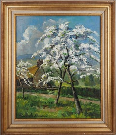 Normandy : Apple Trees in Blossom - Original oil on canvas, Handsigned