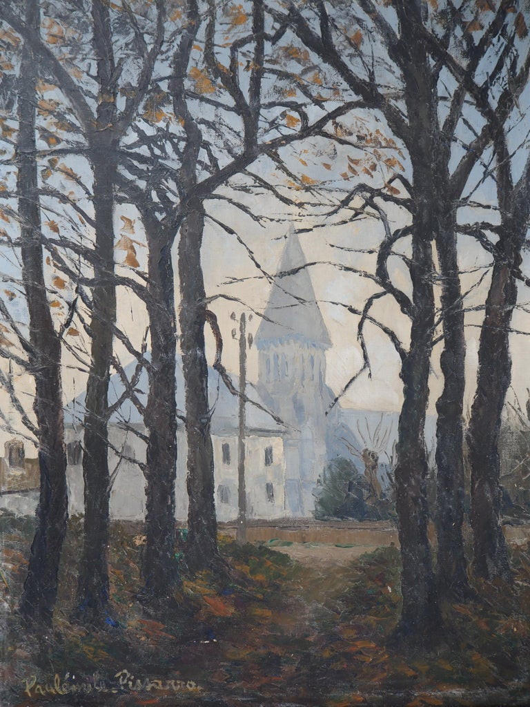 Normandy : Church of St Denis - Original oil on canvas, Handsigned - Gray Landscape Painting by Paul Emile Pissarro