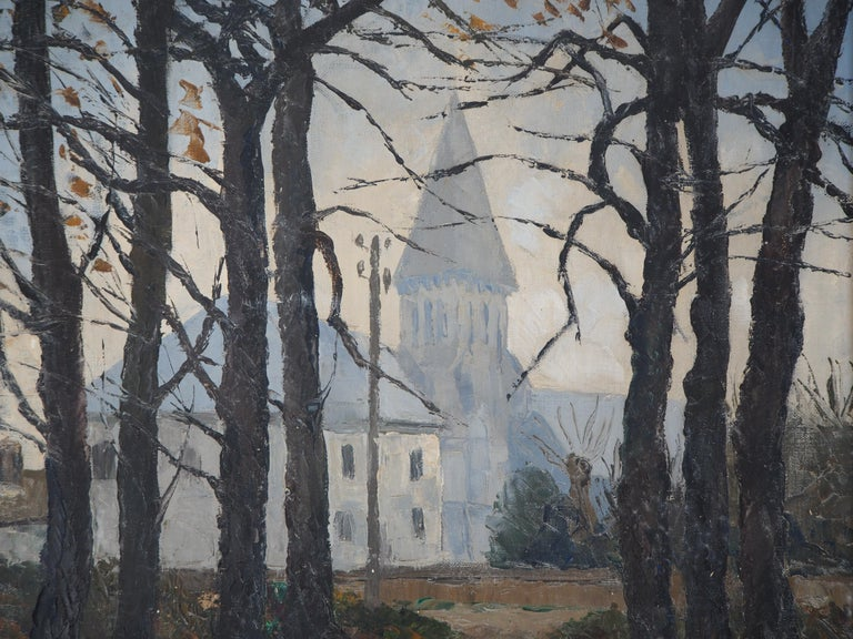 Normandy : Church of St Denis - Original oil on canvas, Handsigned For Sale 1