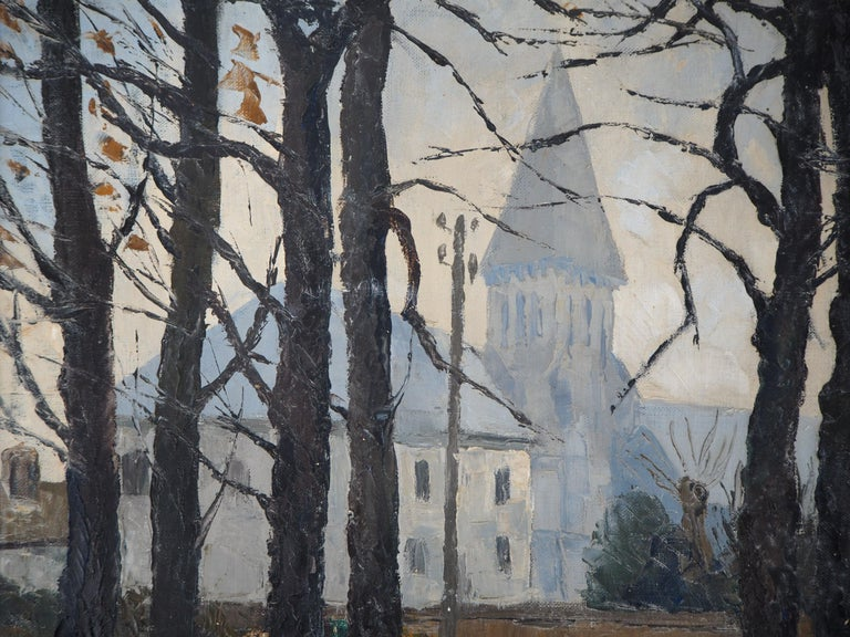 Normandy : Church of St Denis - Original oil on canvas, Handsigned For Sale 2