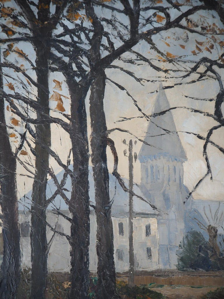 Normandy : Church of St Denis - Original oil on canvas, Handsigned For Sale 3