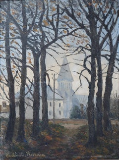 Normandy : Church of St Denis - Original oil on canvas, Handsigned