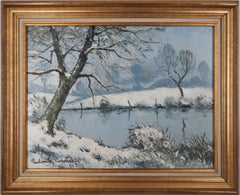 Normandy : Frozen Lake and Snow - Original oil on canvas, Handsigned