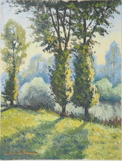 Normandy : Poplars near the River - Original oil on canvas, Handsigned