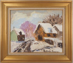 Normandy : Small Houses under the Snow - Original oil painting, Handsigned