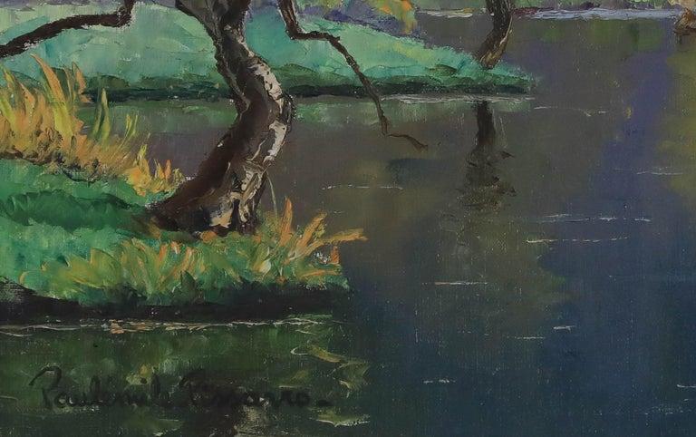 Oil painting by Paulémile Pissarro titled L'Orne et les Rochers de Saint Omer - Post-Impressionist Painting by Paul Emile Pissarro