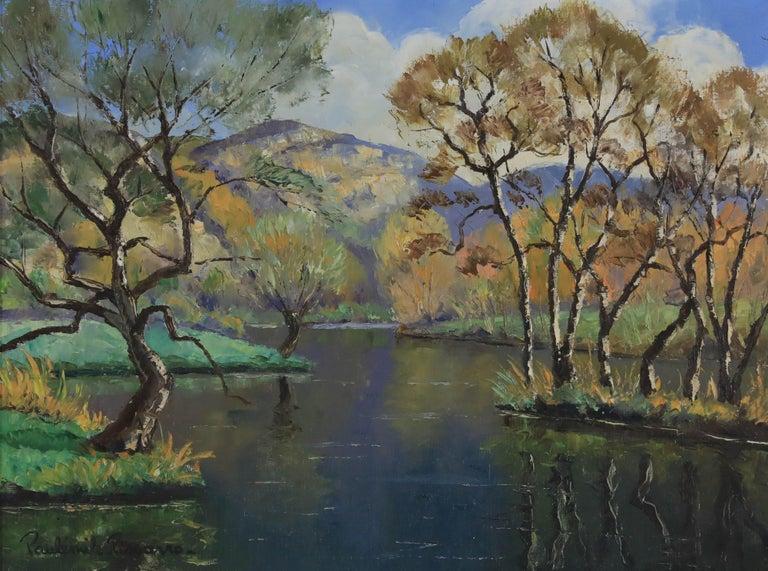 Oil painting by Paulémile Pissarro titled L'Orne et les Rochers de Saint Omer - Brown Figurative Painting by Paul Emile Pissarro
