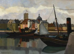 Oil painting titled Le Port de Dieppe by Paulémile Pissarro