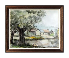 Paul Emile Pissarro Watercolor Painting Original French Landscape Water Signed
