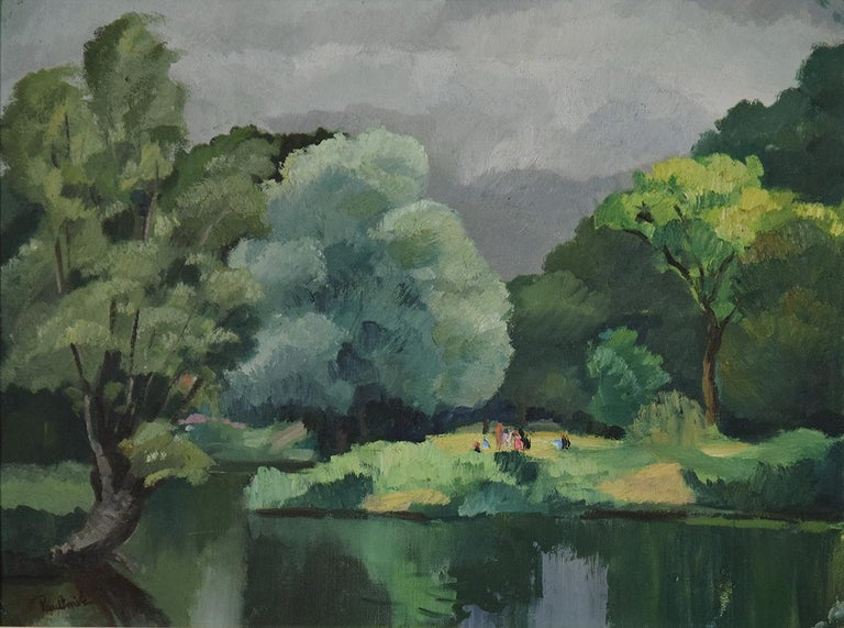 Personnages le Long de l'Eure by PAULÉMILE PISSARRO - Post-Impressionist  - Painting by Paul Emile Pissarro