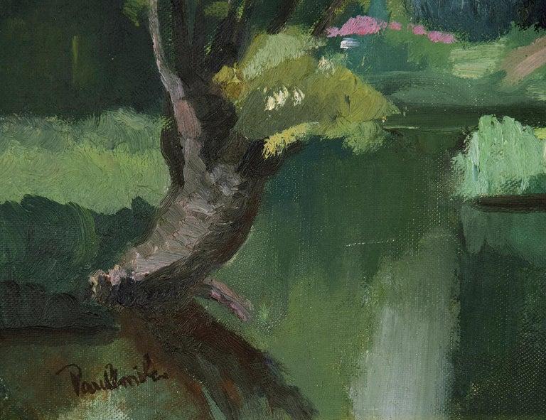 Personnages le Long de l'Eure by PAULÉMILE PISSARRO - Post-Impressionist  - Brown Figurative Painting by Paul Emile Pissarro