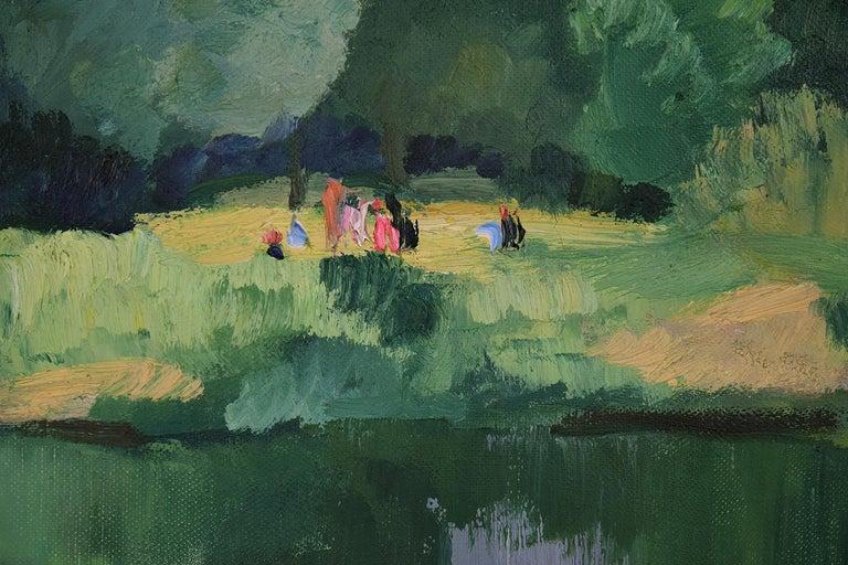 Personnages le Long de l'Eure by PAULÉMILE PISSARRO - Post-Impressionist  For Sale 1