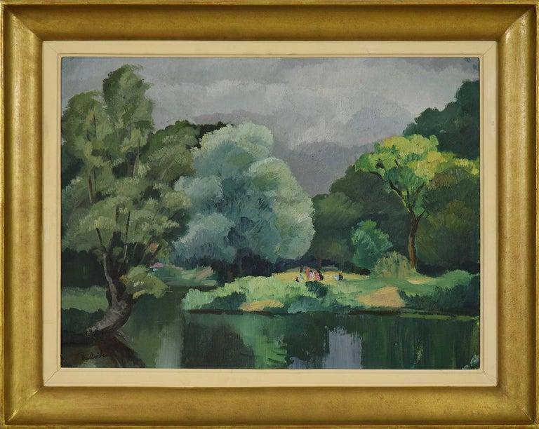 Paul Emile Pissarro Figurative Painting - Personnages le Long de l'Eure by PAULÉMILE PISSARRO - Post-Impressionist