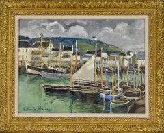 Port scene painting by Paulémile Pissarro titled Port en Bessin, Calvados