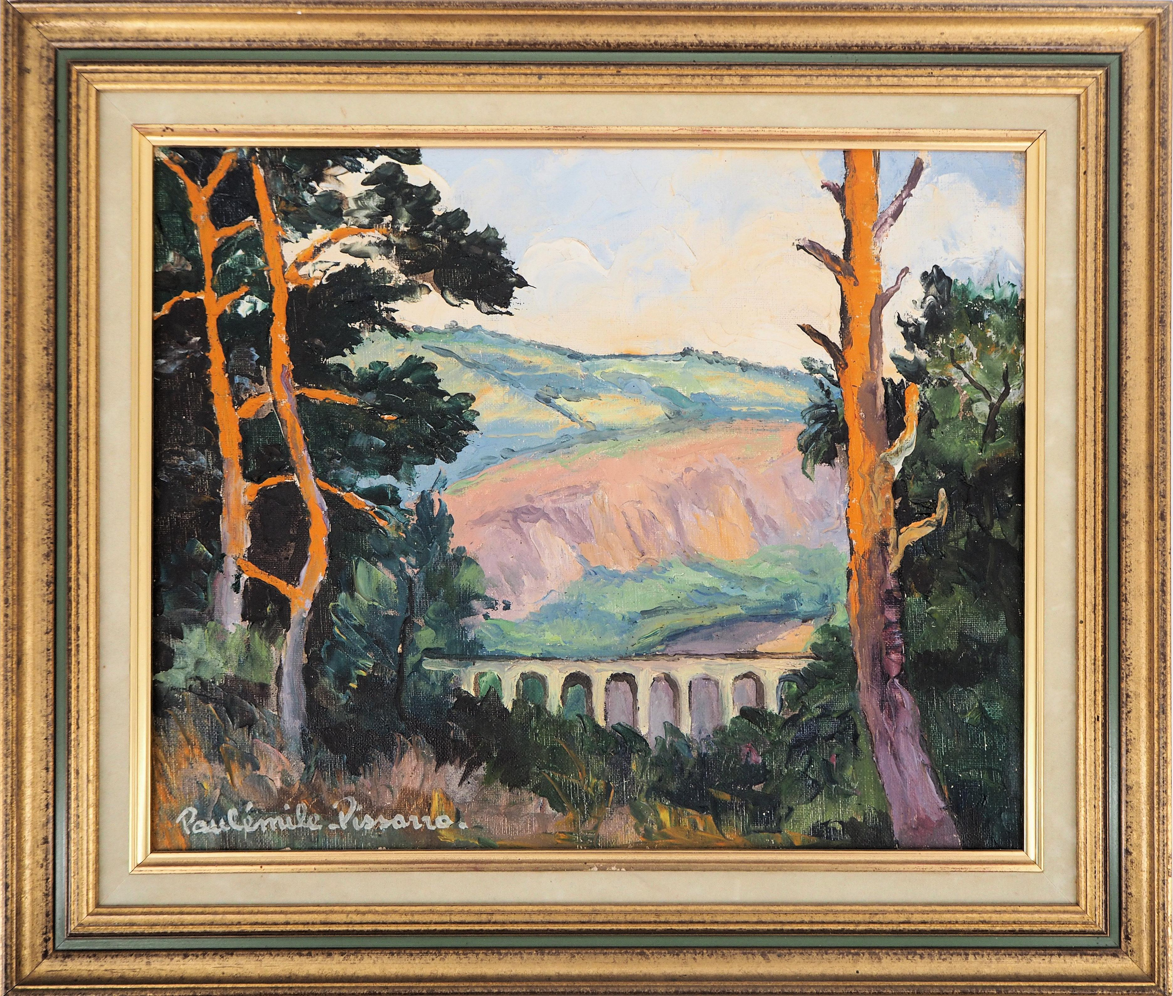 Viaduct in Normandy : Tribute to Cézanne - Original oil on canvas, Handsigned