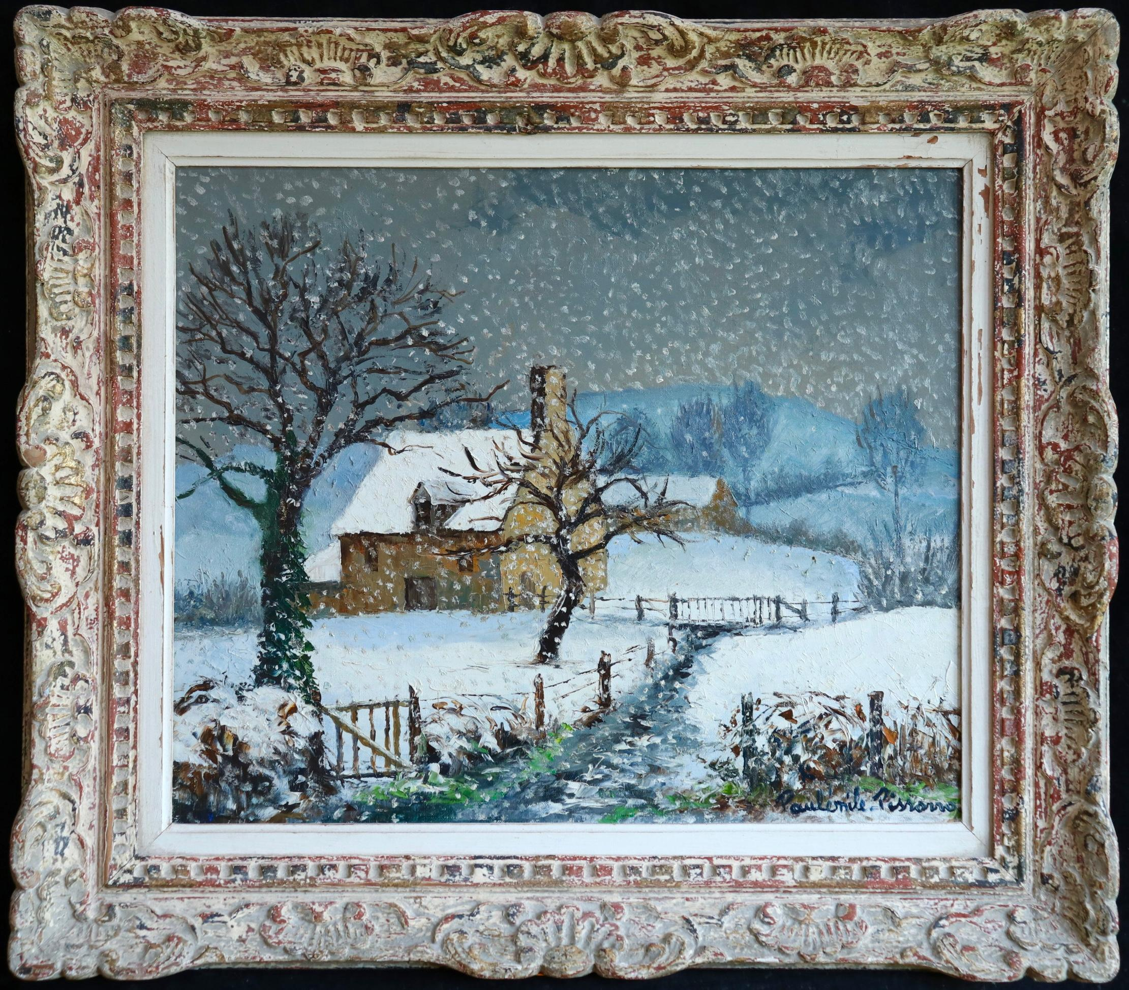 Winter Landscape - Ferme Olivier  large Impressionist oil by Paul Emile Pissarro