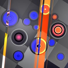 City _ Squares _ Circles, Blue, Orange, 24 x 24, 1/ 200 ed. (unframed)