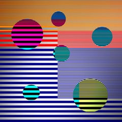 City _ Stripes _ Circles, Blue, Pink, Green, 24 x 24, 1/ 200 ed. (unframed)