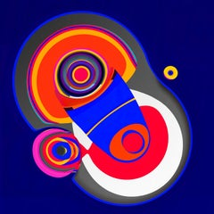 Organic Shapes, Cool Blue, Red, 24 x 24, 1/ 200 ed. (unframed)