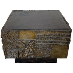 Paul Evans 1973 Sculpted Bronze and Slate Cube Table