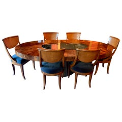 Paul Evans Adjustable Dining Table and Six Armless Italian Chairs