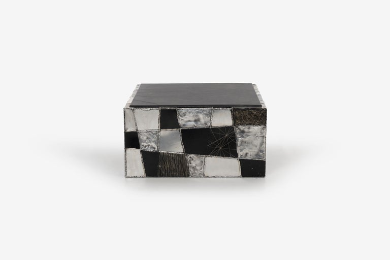 Paul Evans Argente cube coffee table, Evans Studio for Directional Rare, only form like this ever produced.  Welded steel, patinated aluminum with slate top [Welded Signed PE 68].