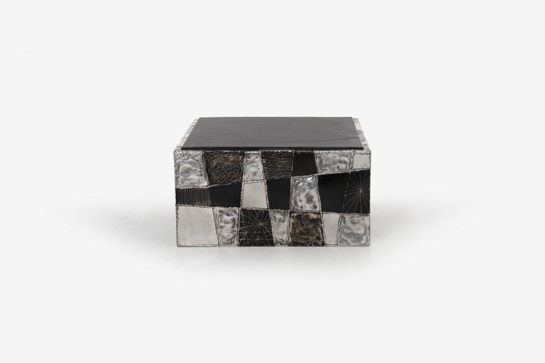 Aluminum Paul Evans Argente Cube Coffee Table, Evans Studio for Directional For Sale