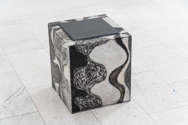 Aluminum Paul Evans, Argente Cube Table 'PE-37', USA For Sale