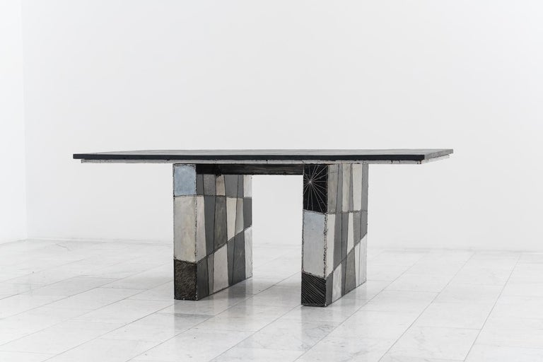 """Signed """"Paul Evans 67"""" this adaptable desk is composed of a Pennsylvania slate top resting on two checker patterned pedestals. Two rolling file cabinets can be positioned beneath the desktop for a compact workspace, or exposed for a more spacious"""