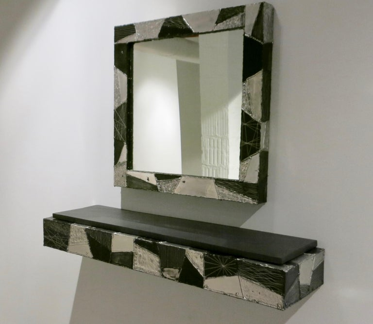 Paul Evans Argente Mirror and Console For Sale 2