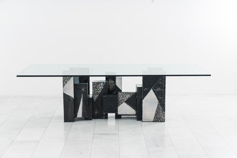 Aluminum Paul Evans, Argente Skyline Dining Table, USA For Sale