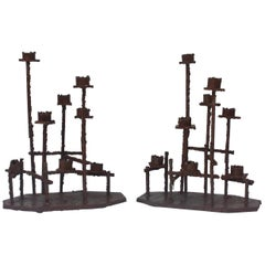 Paul Evans Attributed Welded Steel Brutalist Candlesticks