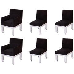 Paul Evans Black Ultrasuede 'Cityscape' Dining Chairs with Chrome Bases '6'