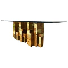 Paul Evans Brass and Burl Cityscape Dining Table, USA, 1975