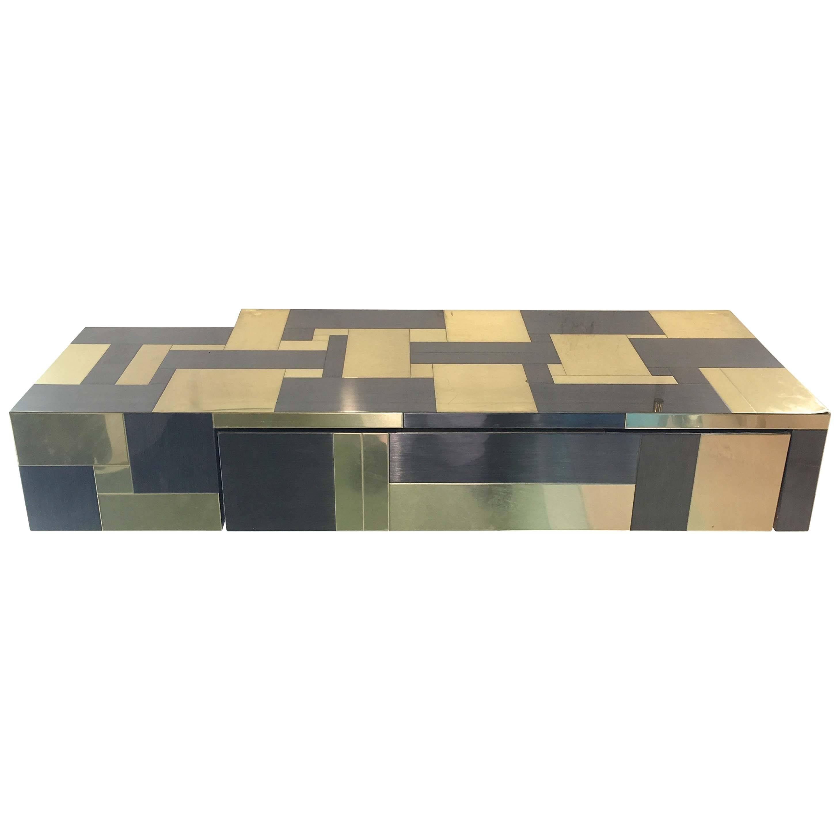 Floating console shelf Cabinet Paul Evans Brass And Gunmetal Floating Console Jimmygirlco Patchwork Metal Floating Console Shelf By Paul Evans At 1stdibs