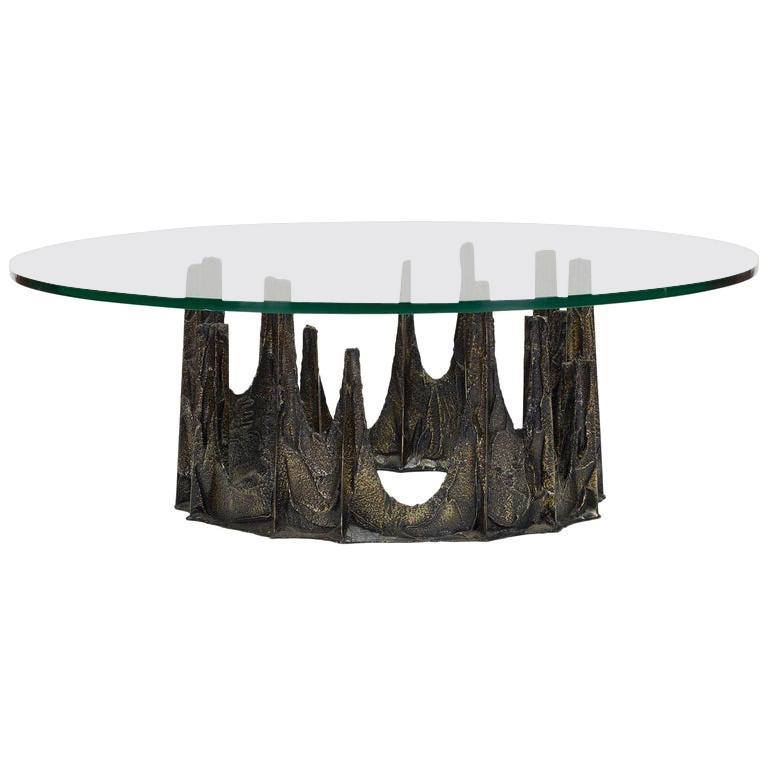 """Paul Evans Bronze and Glass """"Stalagmite"""" Coffee Table"""