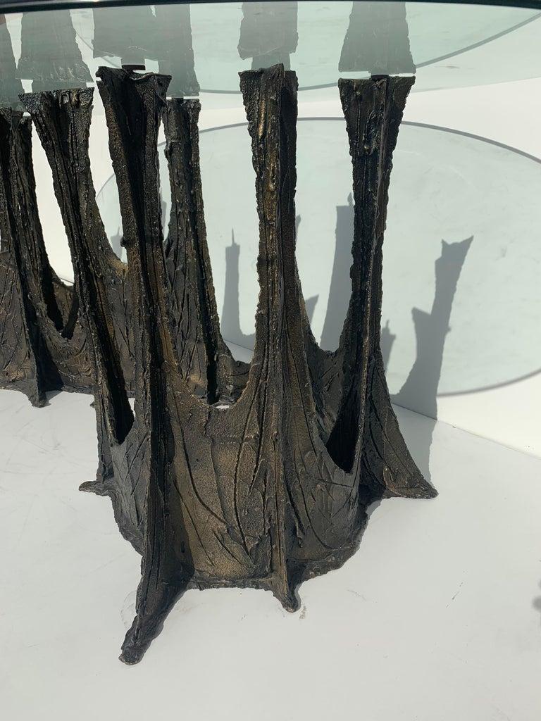 American Paul Evans Brutalist Bronze Stalagmite Dining Table For Sale