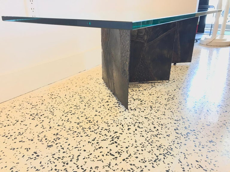 Welded and patinated steel PE-11 Brutalist coffee table by Paul Evans Studio for Directional, 1966.