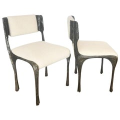 Paul Evans Brutalist Sculpted Bronze Dining Chairs