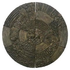 Paul Evans Brutalist Sculpted Bronze Wall Mounted Disc Bar